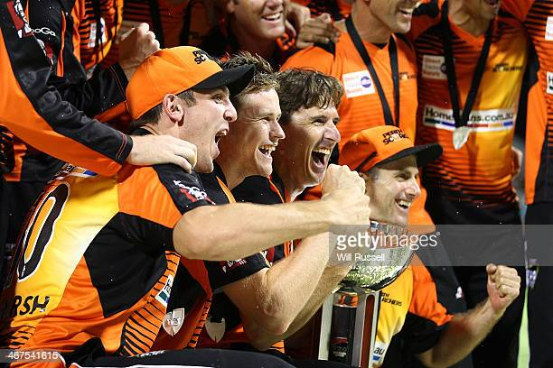 The Scorchers celebrate after defeating the Hurricanes during the Big Bash League Final match between the Perth Scorchers and the Hobart Hurricanes...