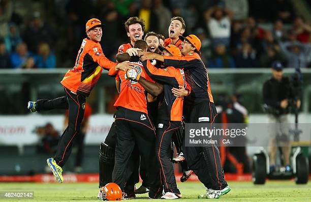 The Scorchers celebrate winning the Big Bash League final match between the Sydney Sixers and the Perth Scorchers at Manuka Oval on January 28 2015...