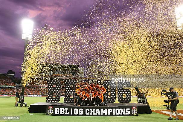 The Scorchers celebrate winning the Big Bash League match between the Perth Scorchers and the Sydney Sixers at WACA on January 28 2017 in Perth...