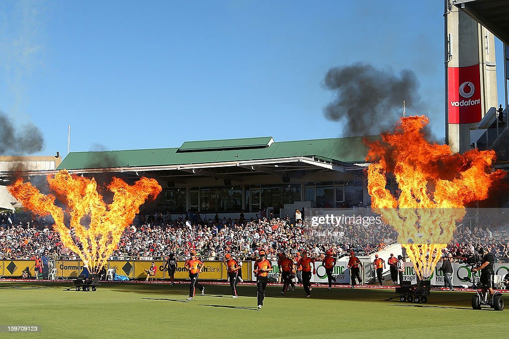 The Scorchers run out to field during the Big Bash League final match between the Perth Scorchers and the Brisbane Heat at the WACA on January 19, 2013 in Perth, Australia.