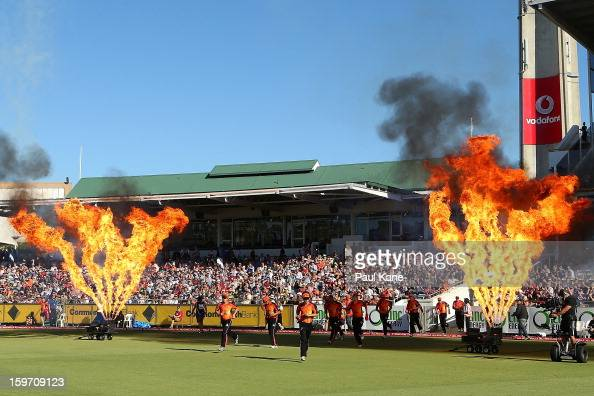 The Scorchers run out to field during the Big Bash League final match between the Perth Scorchers and the Brisbane Heat at the WACA on January 19...