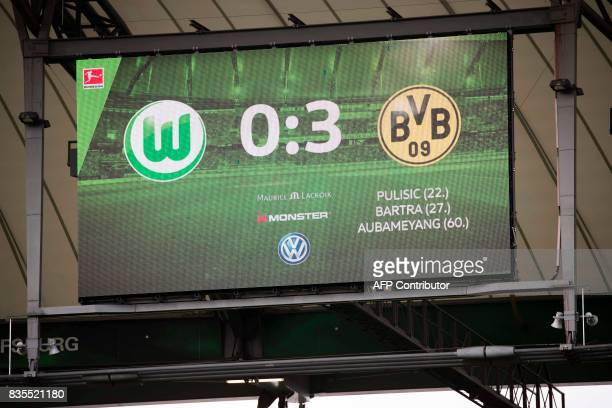 The score board at the end of the German First division Bundesliga football match VfL Wolfsburg v BVB Borussia Dortmund in Wolfsburg western Germany...