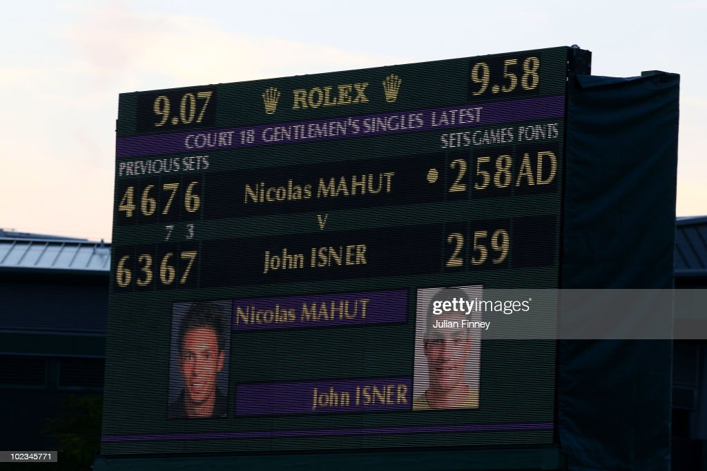 The score board during the Nicolas Mahut and John Isner match on Day Three of the Wimbledon Lawn Tennis Championships at the All England Lawn Tennis and Croquet Club on June 23, 2010 in London, England. The match became the longest in Grand Slam history.