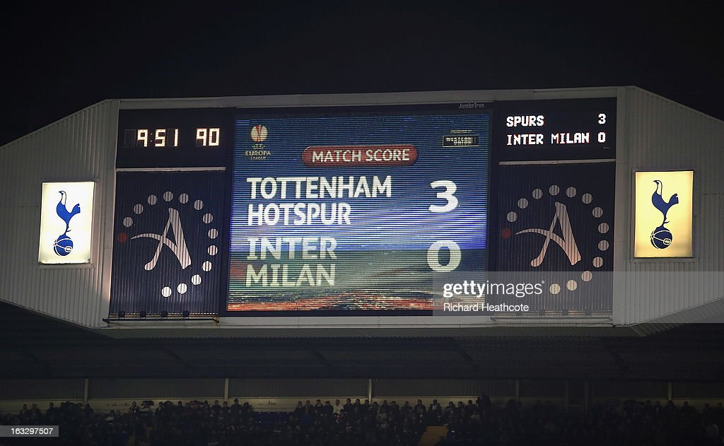 The score board during the UEFA Europa League Round of 16 First Leg match between Tottenham Hotspur and FC Internazionale Milano at White Hart Lane on March 7, 2013 in London, England.