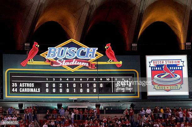 The score board is seen as the St Louis Cardinals come to bat in the bottom of the ninth inning against the Houston Astros during Game Six of the...