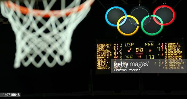 The score board is seen showing the final score of the United States defeating Nigeria 15673 during the Men's Basketball Preliminary Round match on...