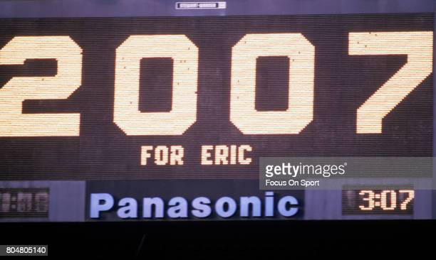 The score board shows 2007 for Eric Dickerson of the Los Angeles Rams for the amount of total yards Dickerson had rushed for to this point in the...