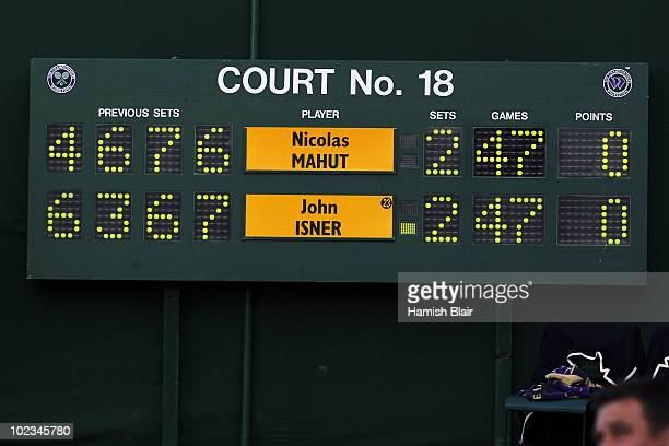The score board with the last statistics before breaking during the Nicolas Mahut and John Isner match on Day Three of the Wimbledon Lawn Tennis...