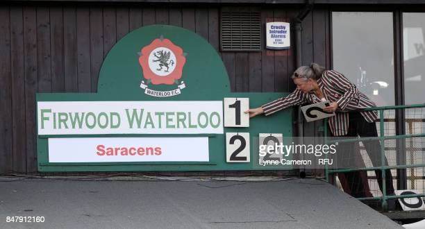 The score is changed during the Tyrrells Premier 15 at The Memorial Ground on September 16 2017 in Liverpool England