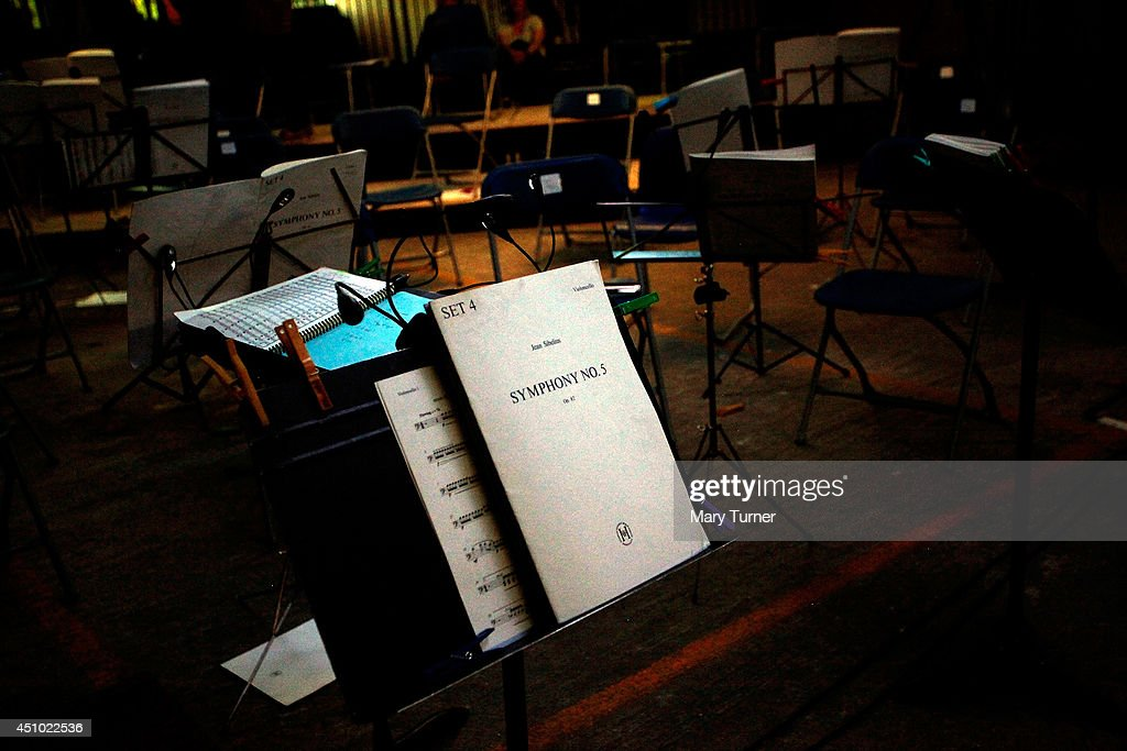 The score of Jean Sibelius' 5th Symphony in the Peckham Rye Car Park after a performance on June 21 2014 in London England The performance is one of...