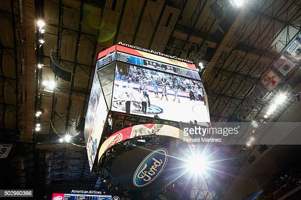 The scoreboard after a 11491 win by the Dallas Mavericks against the Golden State Warriors at American Airlines Center on December 30 2015 in Dallas...