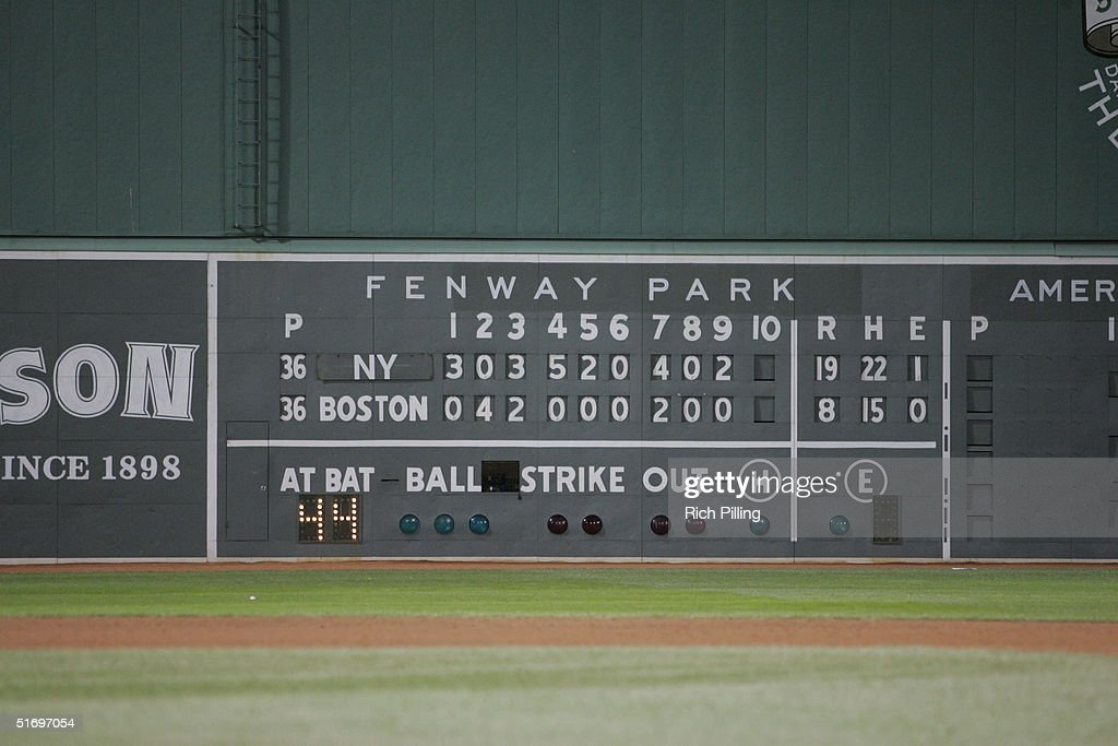 The scoreboard after game three of the ALCS between the New York Yankees and the Boston Red Sox at Fenway Park on October 16 2004 in Boston...