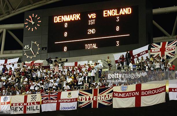 The scoreboard after the FIFA World Cup Finals 2002 Second Round match between Denmark and England played at the Niigata Big Swan Stadium in Niigata...