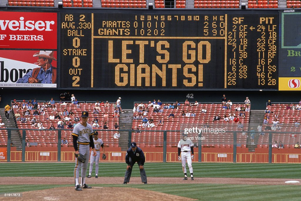 The scoreboard at Candlestick Park says 'Let's Go Giants' during the fifth inning of a baseball game between the San Francisco Giants and the...