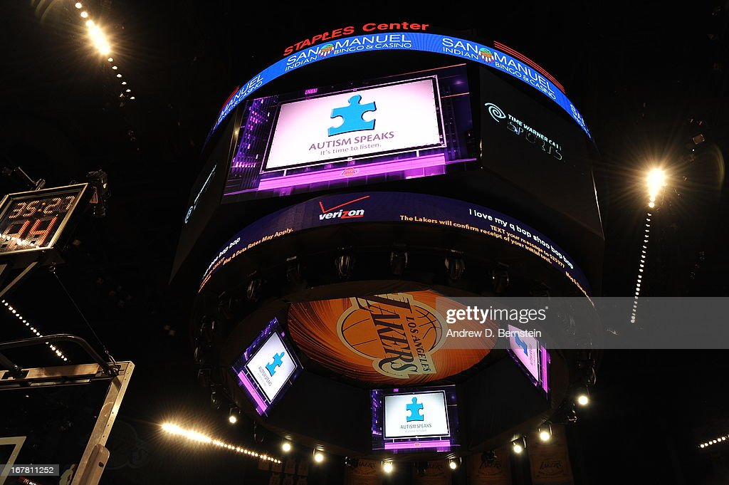 The scoreboard at Staples Center before the game where the Los Angeles Lakers played against the Dallas Mavericks on April 2, 2013 in Los Angeles, California.