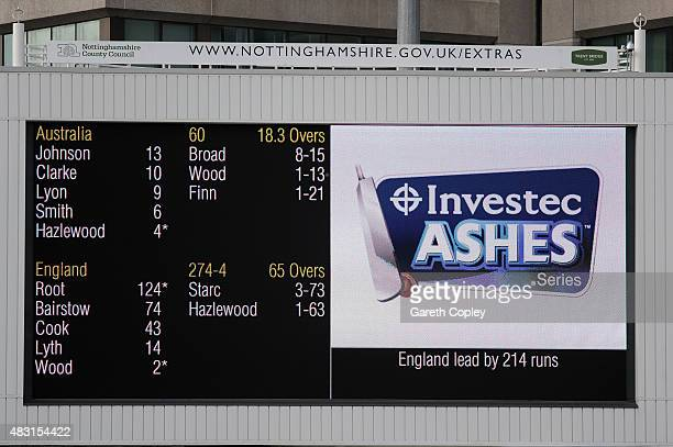 The scoreboard at stumps on day one of the 4th Investec Ashes Test match between England and Australia at Trent Bridge on August 6 2015 in Nottingham...