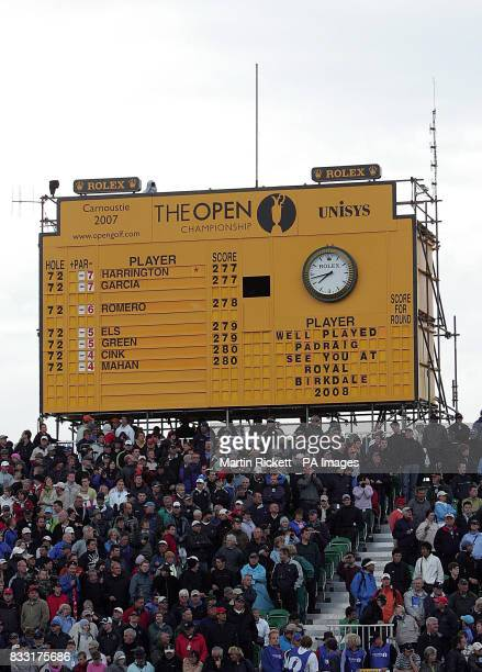 The scoreboard at the 18th hole after Padraig Harrington won a playoff against Sergio Garcia in The 136th Open Championships at Carnoustie Scotland