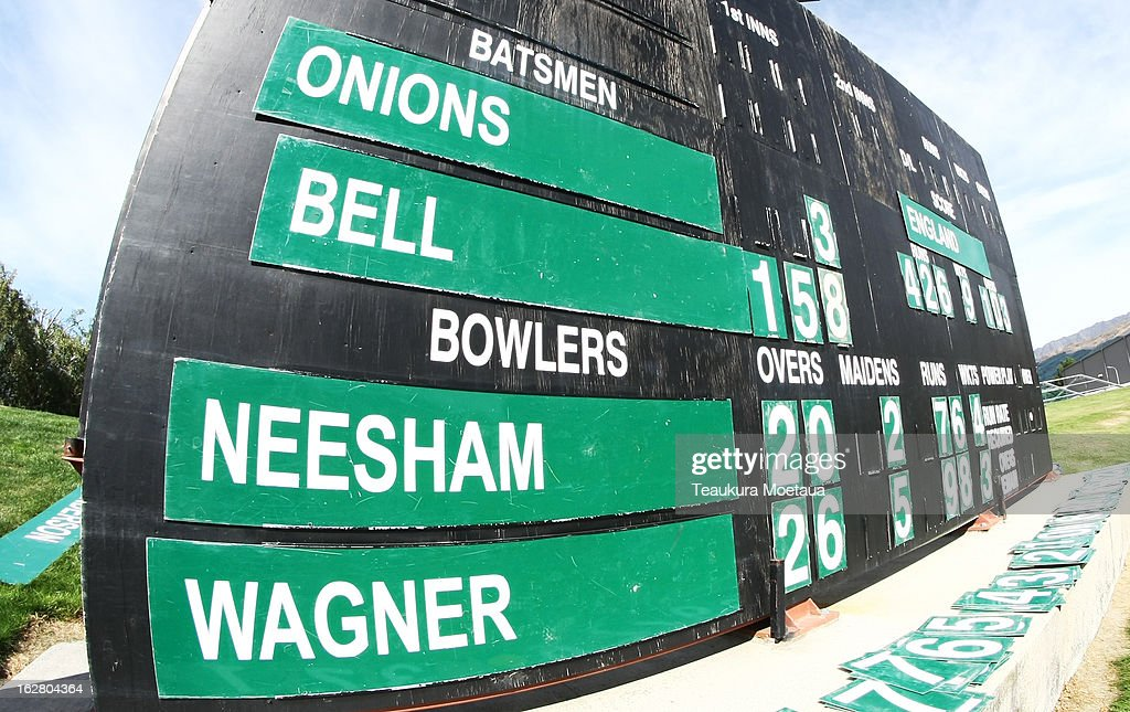 The scoreboard at the end of the England innings during day two of the International tour match between the New Zealand XI and England at Queenstown Events Centre on February 28, 2013 in Queenstown, New Zealand.