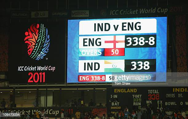 The scoreboard at the end of the match shows the scores tied during the 2011 ICC World Cup Group B match between India and England at M Chinnaswamy...