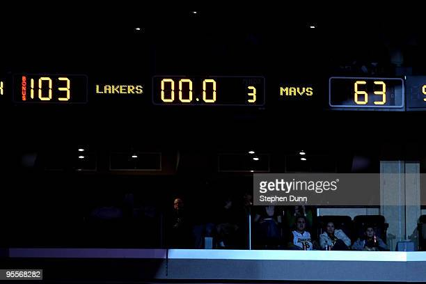 The scoreboard at the end of the third quarter shows the Los Angeles Lakers with 103 points against the Dallas Mavericks on January 3 2010 at Staples...