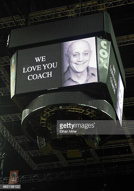 The scoreboard at the Thomas Mack Center displays a message in support of former UNLV head basketball coach Jerry Tarkanian before a game between the...