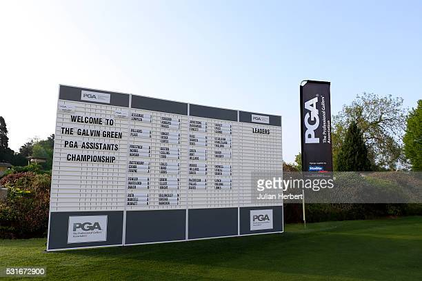 The scoreboard before the PGA Assistants Championship South West Qualifier at Exeter Golf and Country Club on May 16 in Exeter England