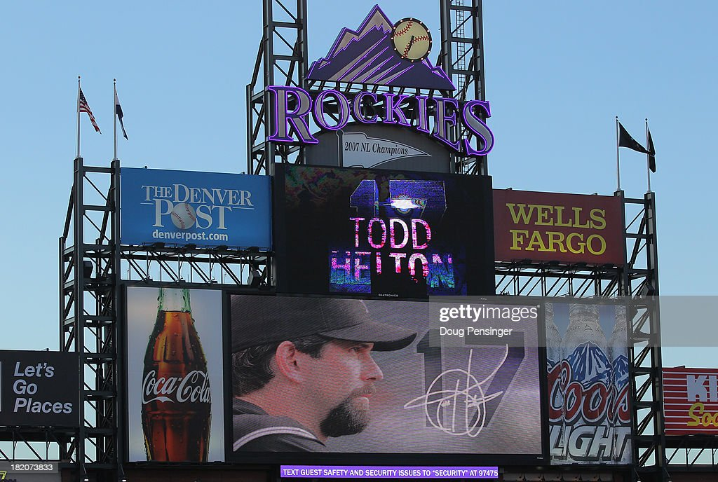 The scoreboard commemorates Todd Helton #17 of the Colorado Rockies as he plays his last home game at Coors Field on September 25, 2013 in Denver, Colorado.