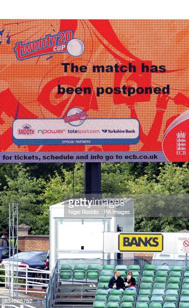 The scoreboard declares match abandoned before the Twenty20 Cup quarter final match at Riverside ChesterleStreet Durham