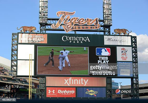 The scoreboard displays a message informing fans that the previous play is under review during the game between the Los Angeles Dodgers and the...