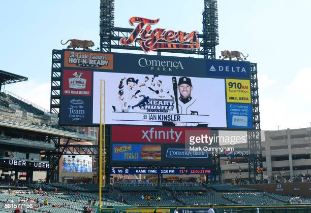 The scoreboard displays an image of Ian Kinsler of the Detroit Tigers winner of the 2017 Heart Hustle Award prior to the game against the Chicago...