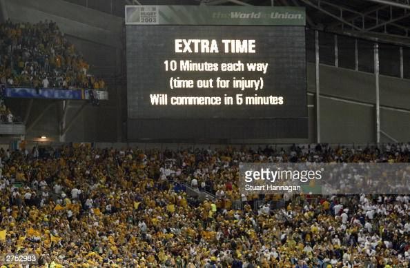 The scoreboard displays extra time for the first time in Rugby World Cup Final history during the Rugby World Cup Final match between Australia and...