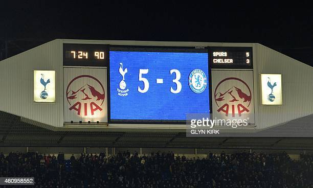 The scoreboard displays the final score after the English Premier League football match between Tottenham Hotspur and Chelsea at White Hart Lane in...