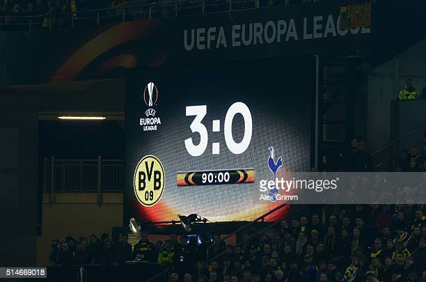 The scoreboard displays the final score after the UEFA Europa League Round of 16 first leg match between Borussia Dortmund and Tottenham Hotspur at...