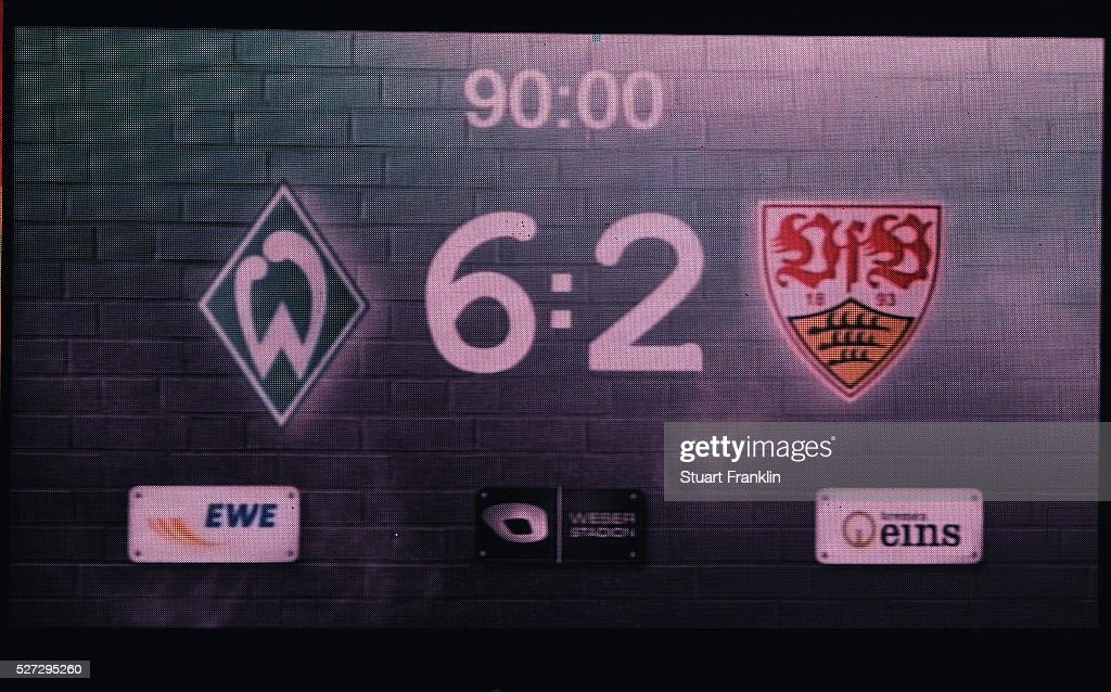 The scoreboard displays the final score of 6:2 after the Bundesliga match between Werder Bremen and VfB Stuttgart at Weserstadion on May 2, 2016 in Bremen, Germany.