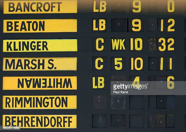 The scoreboard displays the name plate upside down for Sam Whiteman of Western Australia during day four of the Sheffield Shield match between...