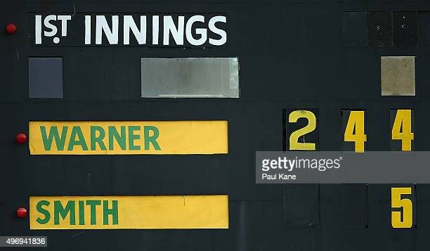 The scoreboard displays the score for David Warner of Australia at the end of play on day one of the second Test match between Australia and New...