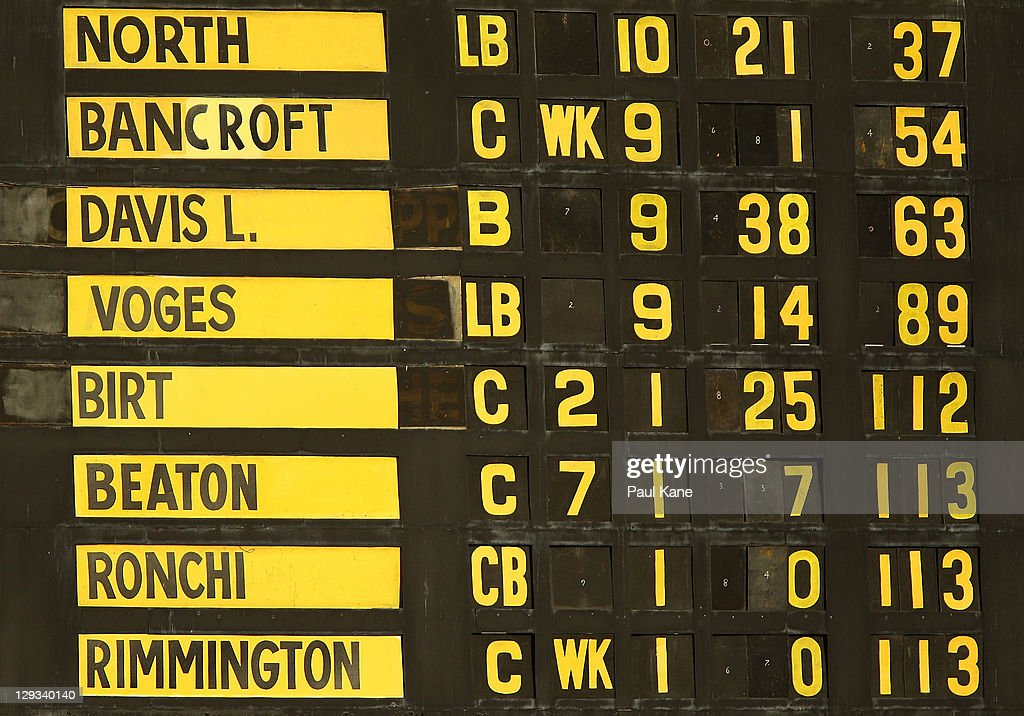 The scoreboard displays the Warriors fall of wickets during the Ryobi One-Day Cup match between the West Australian Warriors and the Tasmanian Tigers at the WACA on October 16, 2011 in Perth, Australia.