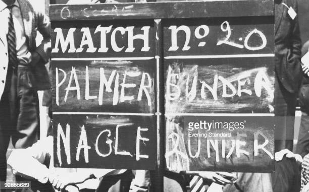 The scoreboard during Match number 20 of the Open Golf Championship at Royal Troon Golf Club Scotland July 1962 American champion Arnold Palmer is...