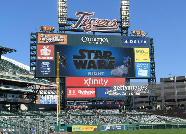 The scoreboard greets fans to the Star Wars Night promotion game between the Chicago White Sox and the Detroit Tigers at Comerica Park on September...