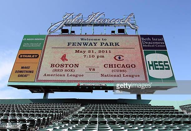 The scoreboard in the bleacher seats displays tonight's interleague matchup on May 21 2011 at Fenway Park in Boston Massachusetts Tonight the Chicago...