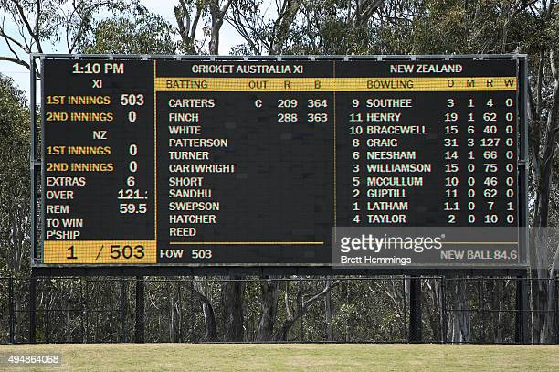 The scoreboard is pictured after the first innings during the international tour match between the Cricket Australia XI and New Zealand at Blacktown...