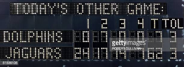 The scoreboard is pictured at the end of the AFC Divisional playoff game between the Miami Dolphins and the Jacksonville Jaguars 15 January 200 at...