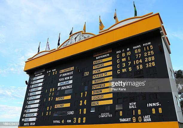 The scoreboard is pictured at the end of the days play during day one of the Tour match between Western Australia XI and England at WACA on October...