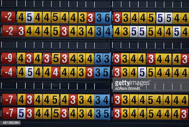 The scoreboard is pictured on day five of the 2015 British Open Golf Championship on The Old Course at St Andrews in Scotland on July 20 2015 The...