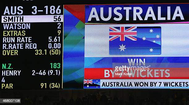 The scoreboard is seen after the 2015 ICC Cricket World Cup final match between Australia and New Zealand at Melbourne Cricket Ground on March 29...
