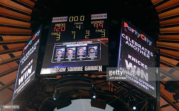 The scoreboard is seen after the New York Knicks clinched the Atlantic division after defeating the Washington Wizards at Madison Square Garden on...