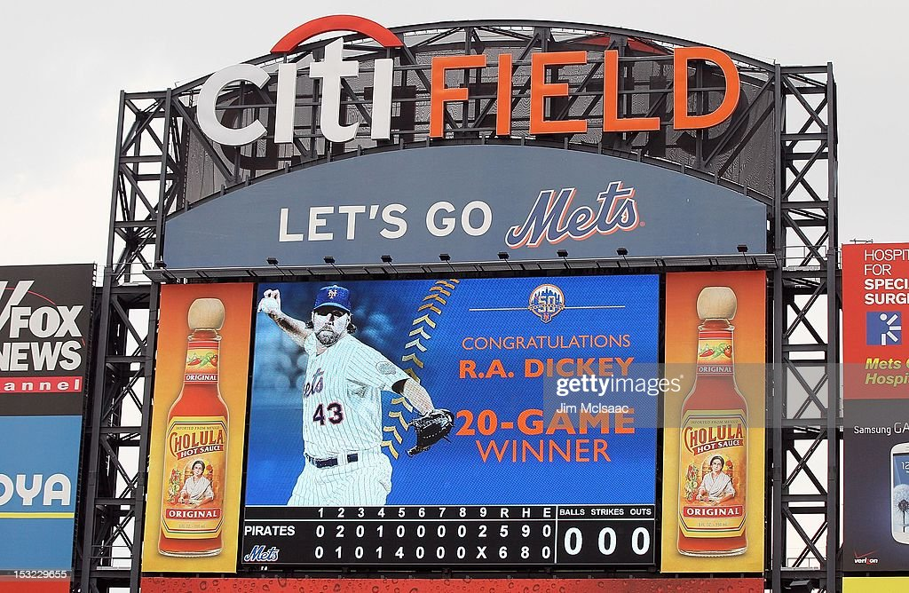 The scoreboard is seen after the New York Mets defeated the Pittsburgh Pirates at Citi Field on September 27, 2012 in the Flushing neighborhood of the Queens borough of New York City. The Mets defeated the Pirates 6-5.