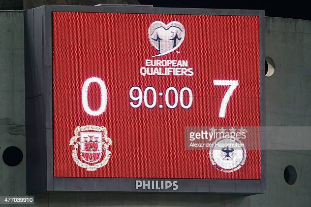 The scoreboard is seen after the UEFA EURO 2016 Qualifier Group D match between Gibraltar and Germany at Estadio Algarve on June 13 2015 in Faro...
