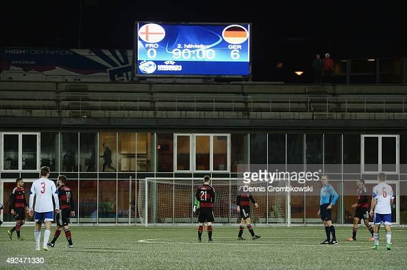 The scoreboard is seen displaying the final score of 06 after the 2017 UEFA European U21 Championships Qualifier between U21 Faroe Islands and U21...