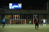 The scoreboard is seen displaying the final score of 06 after the 2017 UEFA European U21 Championships Qualifier between U21 Faroe Islands and U21...